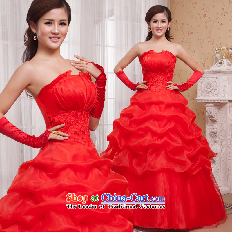 The Korean version of the shared Keun guijin shell anointed chest bon bon petticoats bride to align the wedding hs391 large red?L code from Suzhou Shipment