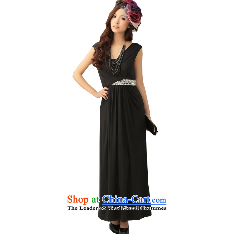 Of the?2015 Korean glued to the new Women's Long Marriage banquet hosted long staples pearl vest milk silk high-end of the Sau San dress dresses 4430 Black?M