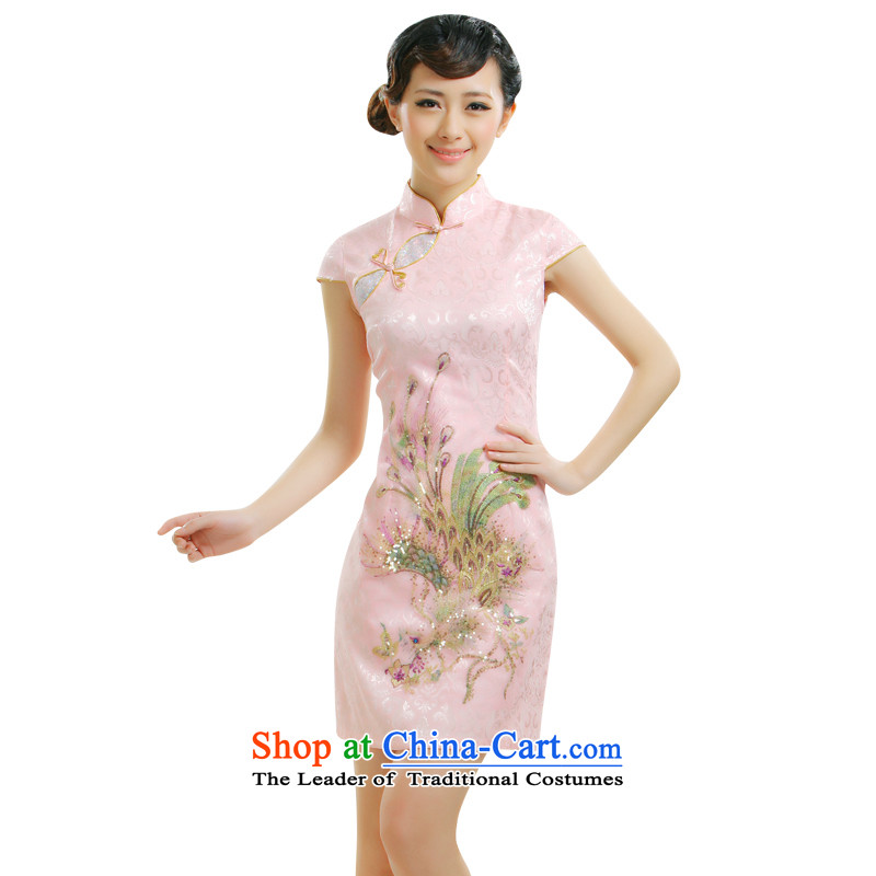 The former Yugoslavia Li aware of�spring and summer 2015 new auspicious Chinese Robes embroidery improvements Peacock Sau San small dress�QR007�pink�S