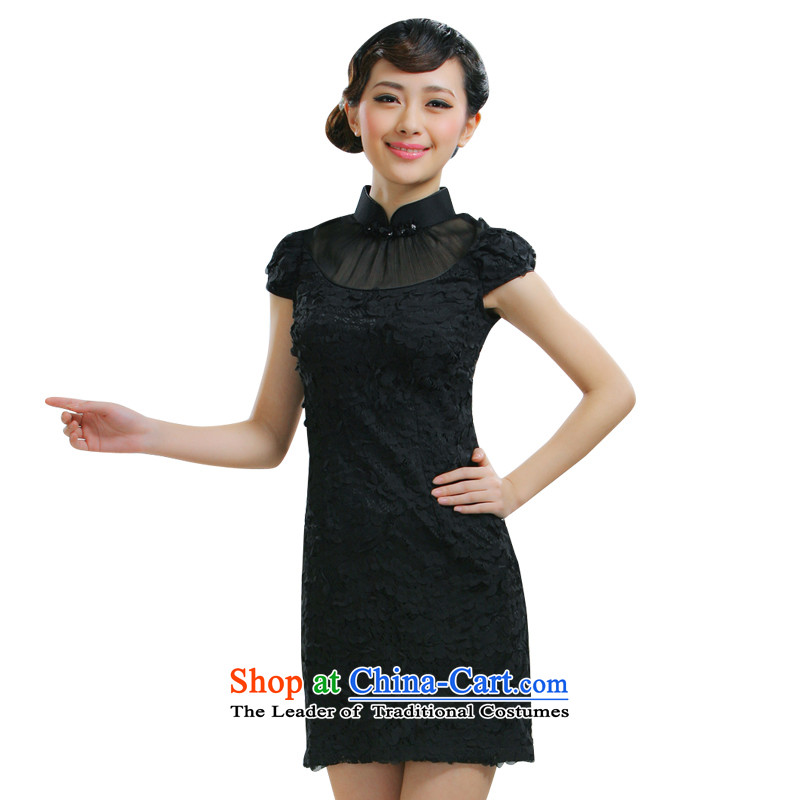 The former Yugoslavia Li know new sweet Romance 2015 Graphics thin retro dress qipao retro palace wind aristocratic ladies China wind qipao QLZ15Q6010 black XXL