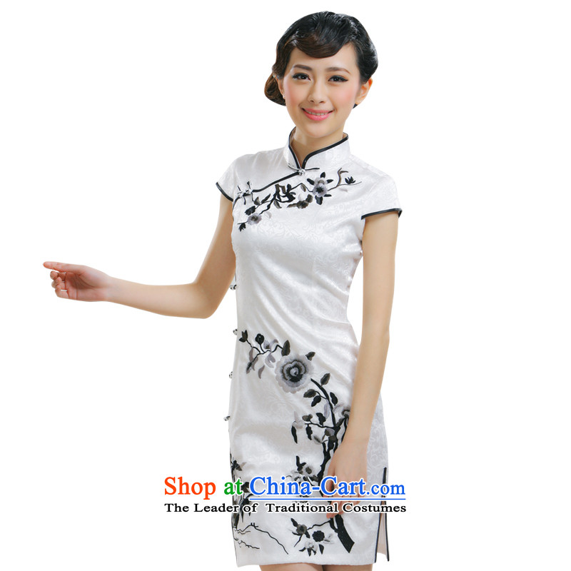 The former Yugoslavia Li aware of?spring and summer 2015 new stylish qipao improved embroidery flower embroidery cheongsam dress qipao white?QR010-823?White?XL