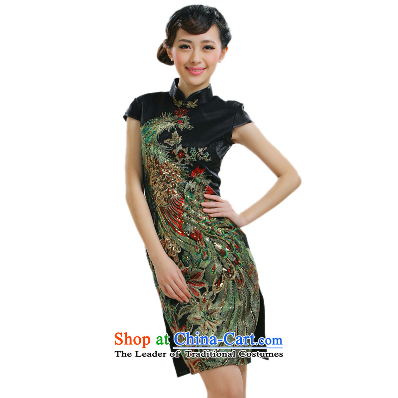 The former Yugoslavia Li know a new summer stylish improved summer short-sleeved female cheongsam dress the peacock fork short qipao QR013 black L