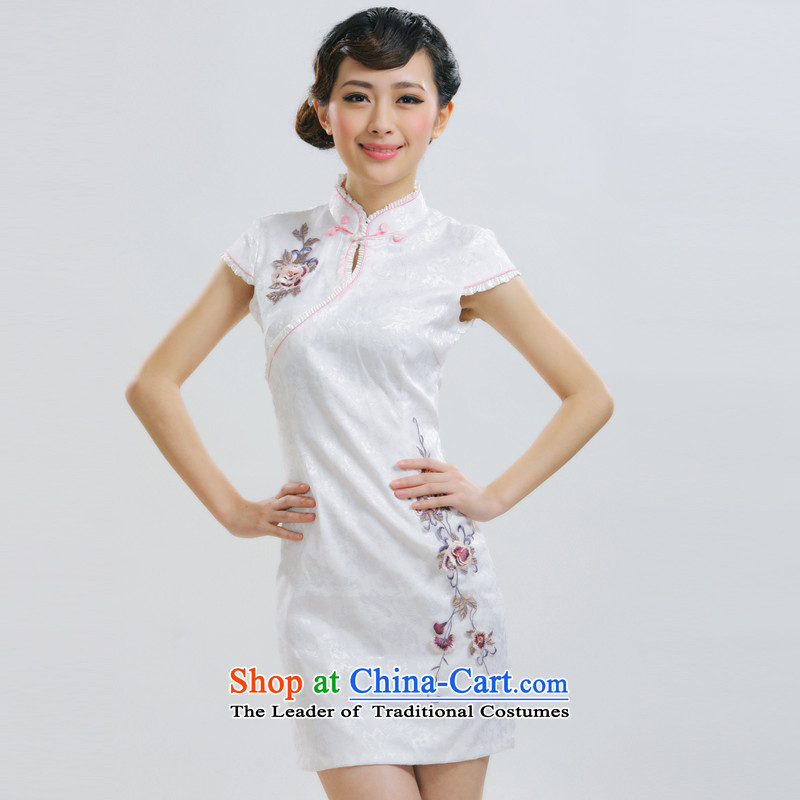 The former Yugoslavia Li aware of?spring and summer 2015 New Definition Dejammet following retro short qipao Gangnam embroidery China wind dress?QR019?white?S