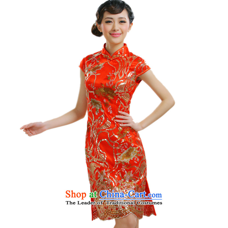 2014 new bride replacing qipao improved pearl qipao Stylish retro qipao summer new cheongsam QT033 RED?XL