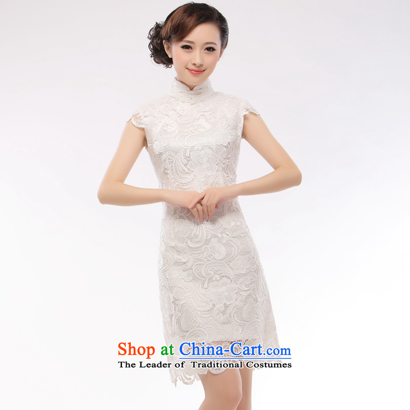 The former Yugoslavia Li aware of?spring and summer 2015 new heavy industry water-soluble lace solid color dress elegant and stylish retro lace white qipao?QR14?white?S