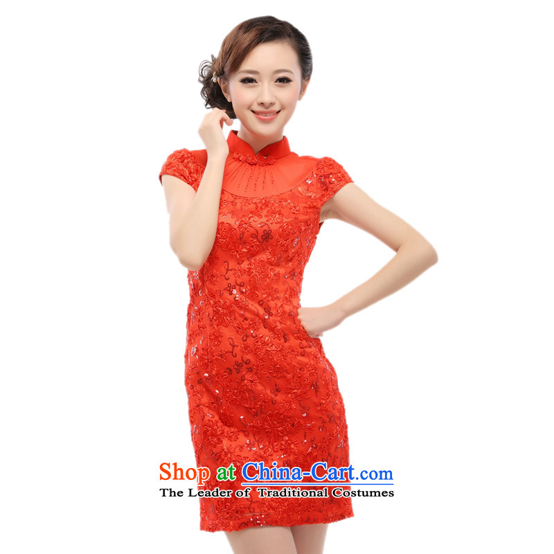 The former Yugoslavia Li known everyday retro cheongsam dress improved stylish marriages bridesmaid dress 2015 new lace QW001-1 RED M