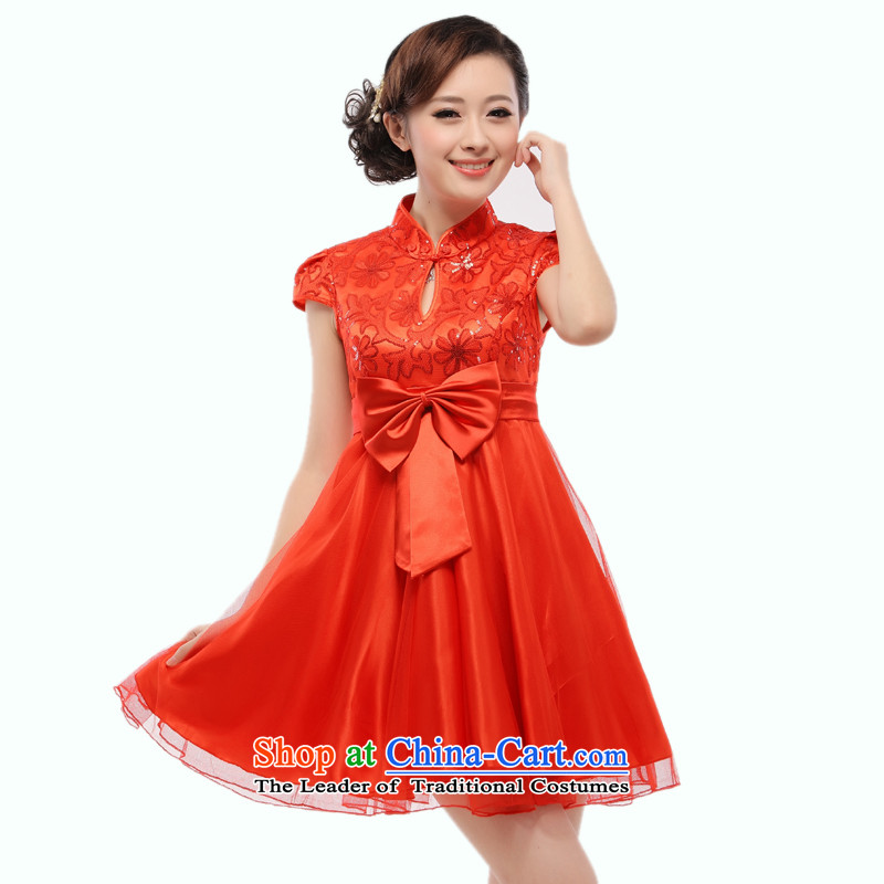 The 2014 summer short of pregnant women new bride with bows qipao gown slimming wedding dress red QT15-1 know Li Red XXL