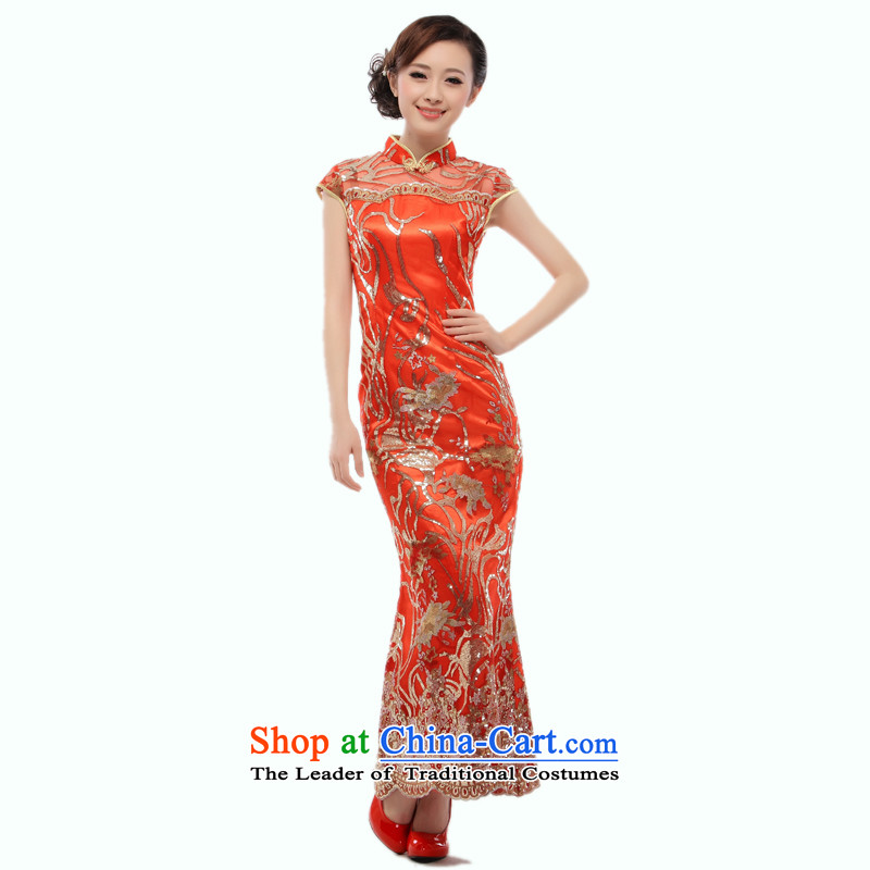 The former Yugoslavia Li aware of the�new Marriage 2014 evening dresses bride boxed genuine red qipao long marriage cheongsam dress�QT22�RED�XL