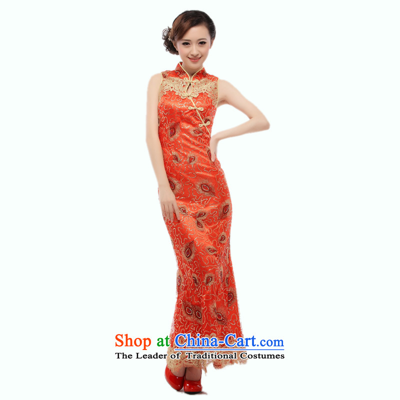 Yugoslavia 2015 Summer know Li new bride wedding dress long serving small Li known crowsfoot cheongsam dress bows dress QT20 RED L