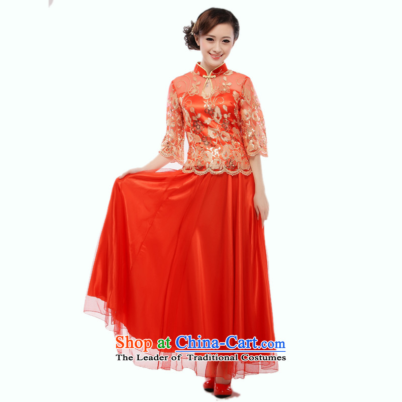 The former Yugoslavia Li know new 2014 marriages red dress cheongsam dress stylish bows improved QB8007/(12-31) RED M