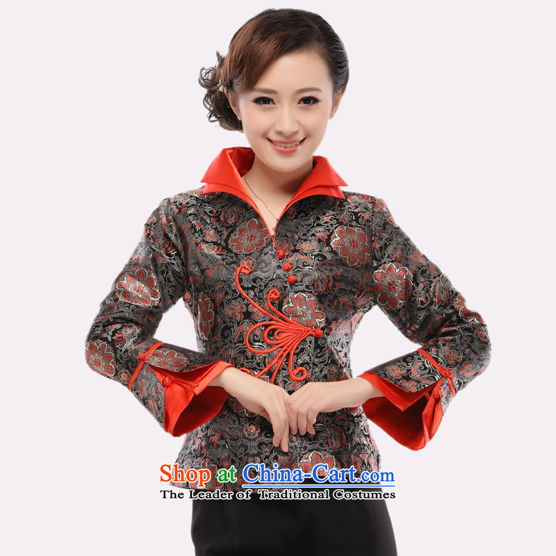 In the former Yugoslavia as known (li upscale brocade coverlets Tang dynasty, during the spring and autumn blouses Chinese long-sleeved jacket 2015 QR54 dress XXXL Silver and Black