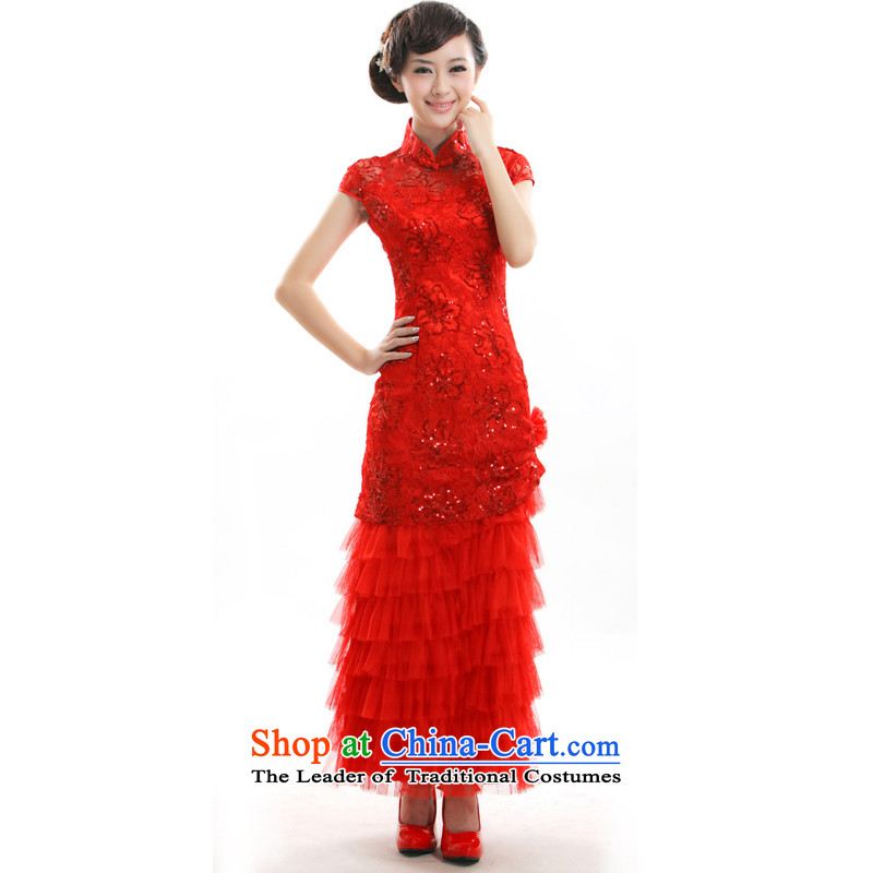 The former Yugoslavia Li aware of?spring and summer 2015 new cheongsam dress stylish China wind bride chinese red color long gown bows?FD002 services?red?S