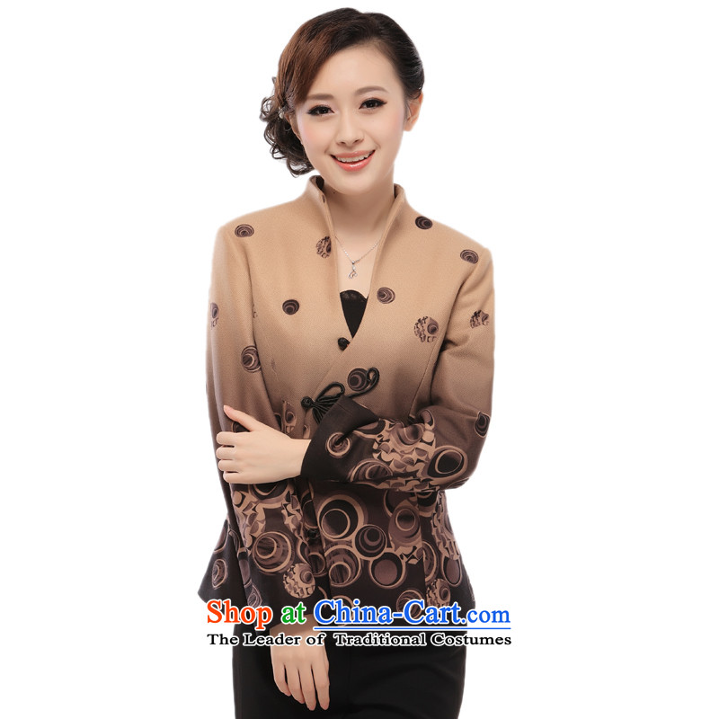 The former Yugoslavia (2013- know Li autumn and winter new cotton jacket thickness of older Tang dynasty? long-sleeved T-shirt?QW66 gross?brown?L
