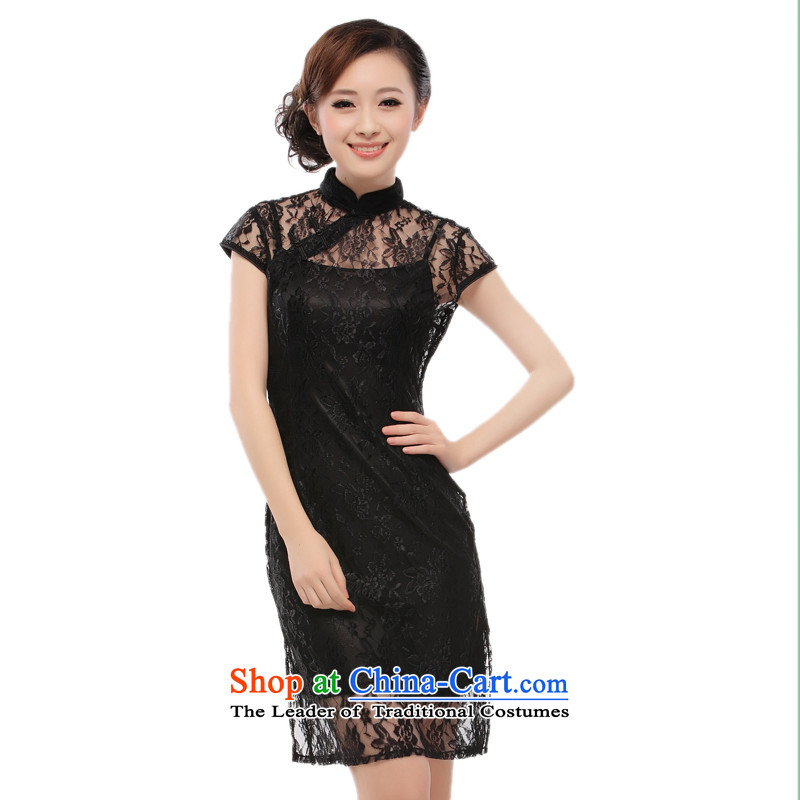 Black lace dresses strap skirt?2015 new products and sexy slimming knowledge?QT10 Li?black?S