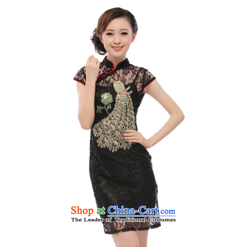 The former Yugoslavia Li aware of?spring and summer 2015 new sexy Lace Embroidery green peacock two kits cheongsam dress skirt retro elegant Phoenix in?black QF002?M