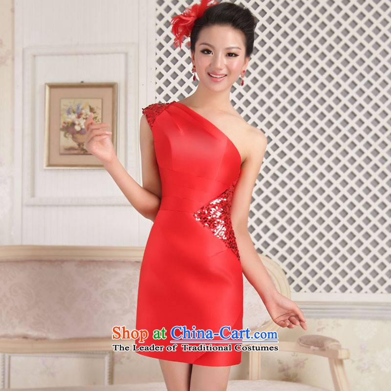 Mrs Alexa Lam Roundup聽2013 new small Dress Short of Korean Beveled Shoulder evening dresses bride bows to red blue will聽13961聽Red聽XS