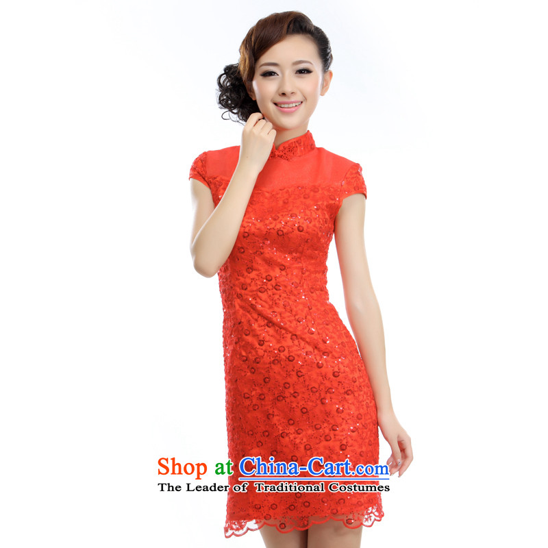 The former Yugoslavia Li aware of?spring and summer 2015 new stylish bows service improvement bride Wedding Dress Short of Qipao? A-894?RED?XXL