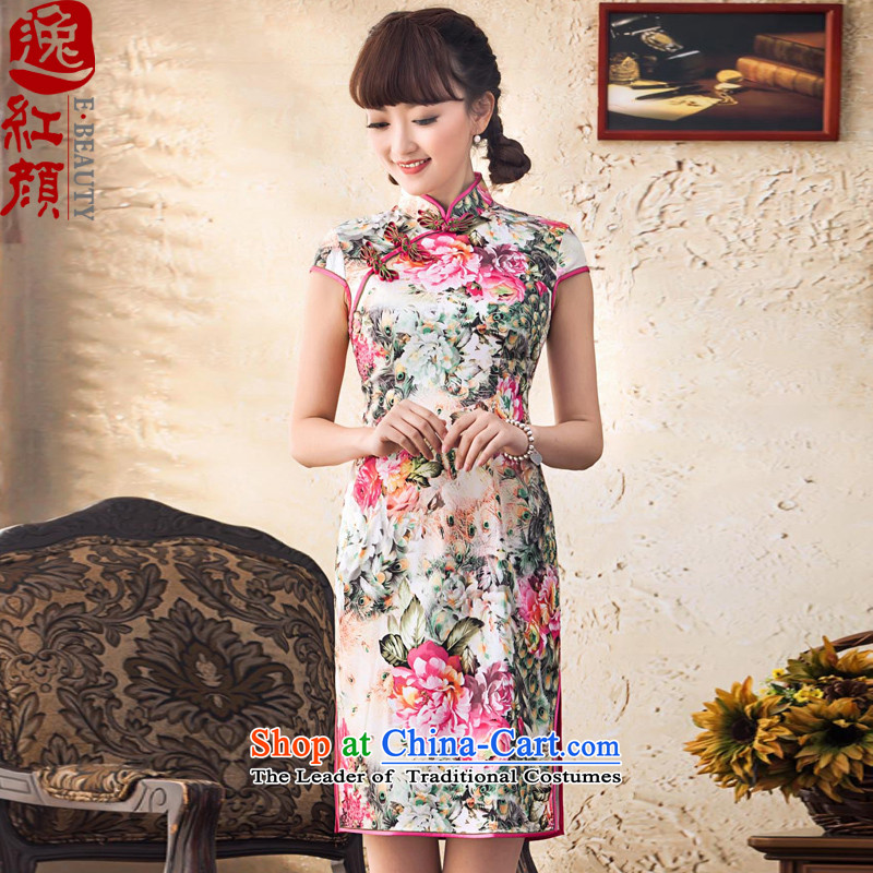 【 Yat lady as soon as possible for the improvement of flower Stylish retro short of Qipao Summer?2014 new improved cheongsam dress suit?S