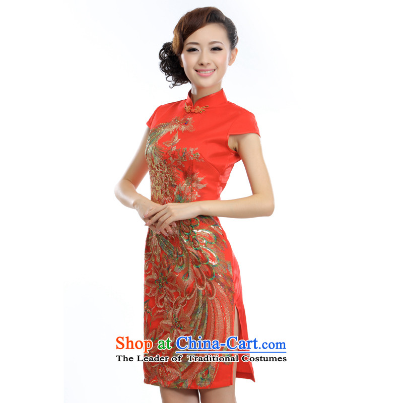The former Yugoslavia Li aware of?spring and summer 2015 new improved stylish wedding dresses China wind Perfect Match Phoenix dress? A-845#?RED?L