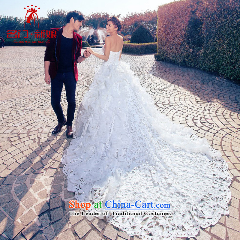 A bride wedding dress exquisite embroidery Deluxe Big tail wedding sweet princess wedding A986 M