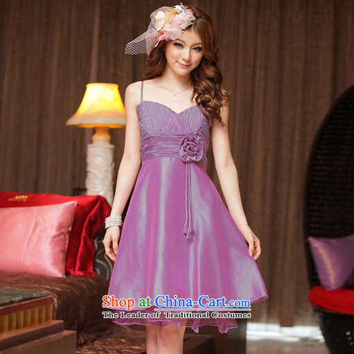 Of the?2015 Korean glued to the new women's short of marriage, large video thin stylish gentlewoman Foutune of bows small evening dresses dresses 3296 purple?XL