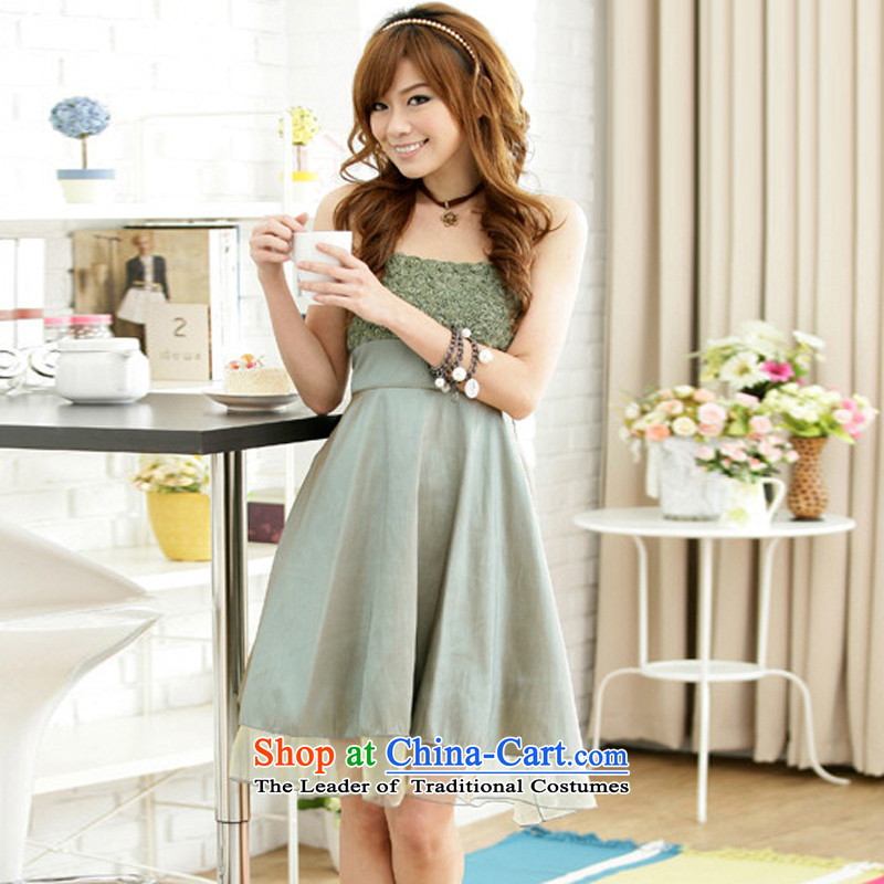 Of the?2015 Korean glued to the new women's short, under the auspices of theatrical rose blossoms sister party strap evening dress small dresses 3601 green are code