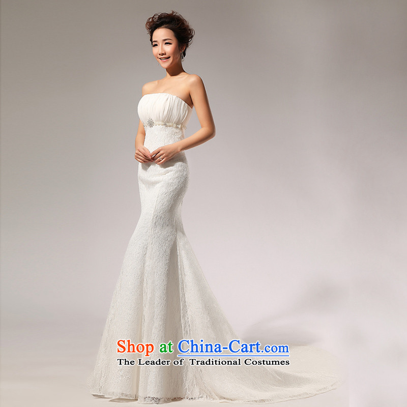 Shared Keun guijin 2014 New Princess wedding dress stereo lace Korean crowsfoot tail behind the strap wedding a7 m White?M code from Suzhou Shipment