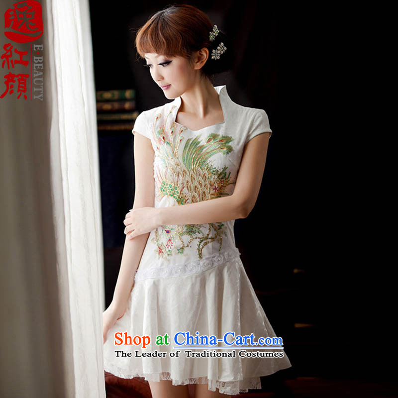 �� Yat lady- White Phoenix?2015 China wind retro lace daily qipao improved Couture fashion cheongsam dress summer, White?2XL