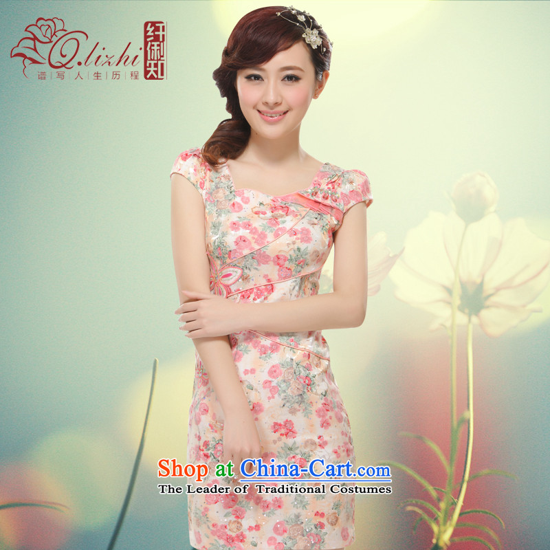 The former Yugoslavia Li aware of spring and summer 2015 new stylish need for improved water drilling elegant small dress retro OL aristocratic China wind?QLZ15Q6007?pink?S