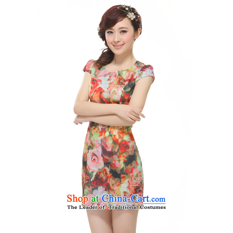 The former Yugoslavia Li know?new stylish Ms. 2015 Sau San cheongsam high-end bleeding rose dresses?QA12-42?SUIT?L