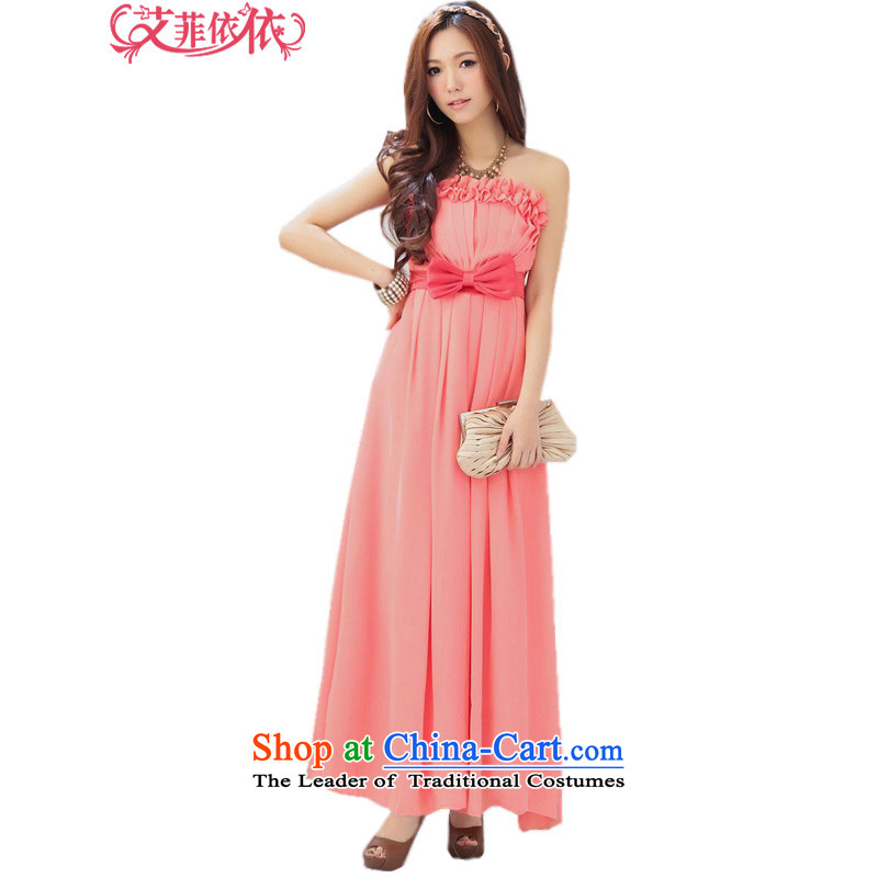 Glued to the Eiffel long dream and chest evening dresses?2015 Korean new women's marriage bride bows moderator stage dresses 4311th watermelon red?XL