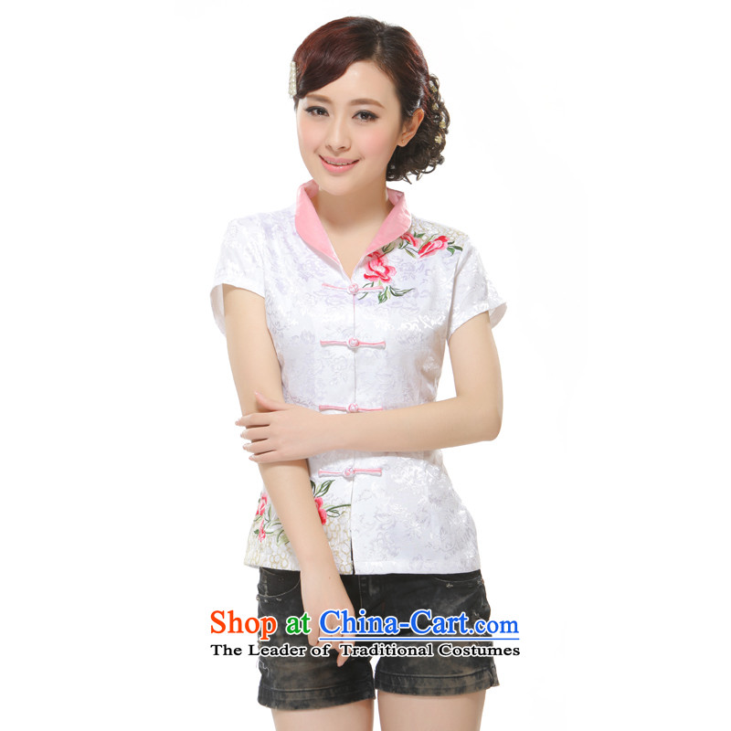 The former Yugoslavia Li know�new 2014 Tang Blouses Ms. embroidery improved stylish short of Qipao�QW2-115 Sau San�White�XL