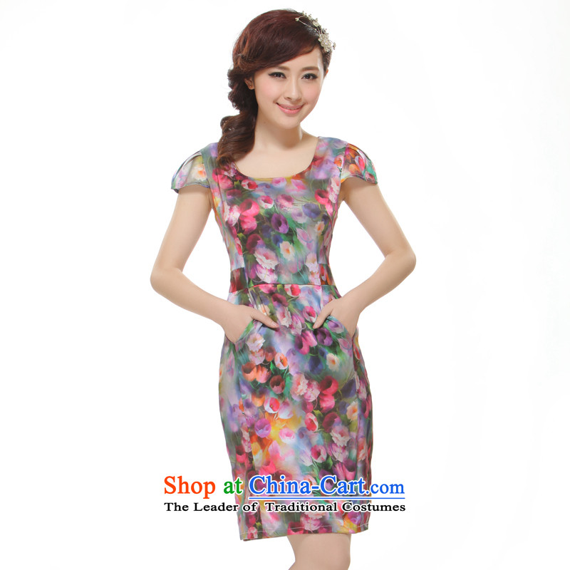 The former Yugoslavia Li know�women's new 2015 short, floral cheongsam dress retro style�QR510 improved�SAIKA�XL