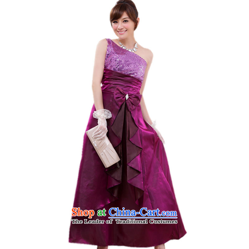 Of the persons chairing the glued to the shoulder expensive evening dresses?2015 Korean New Long Marriage banquet bridesmaid girl on chip evening dresses 4445 aubergine?XXL