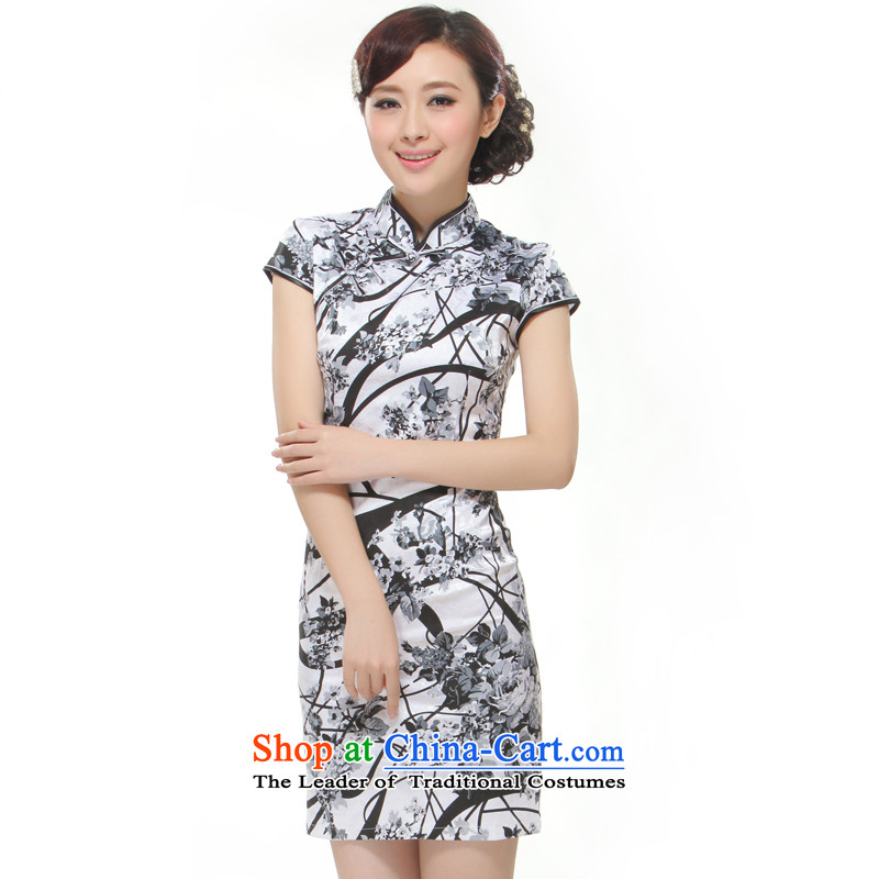 The former Yugoslavia Li aware of?spring and summer 2015 New Ink Painting China wind elegant and stylish retro cheongsam dress?QW2-518 short?Ink Container?XL