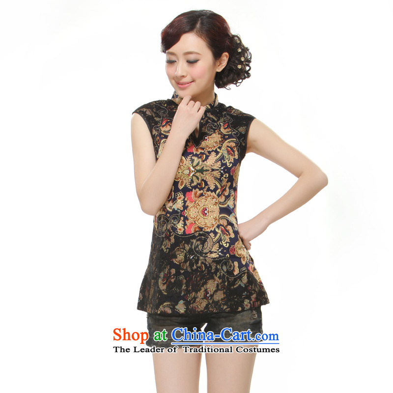The former Yugoslavia Li aware of?spring and summer 2015, the new President Tang Blouses Chinese Folk Wind retro style auspicious Feng totems improved?QC3-113?black?L