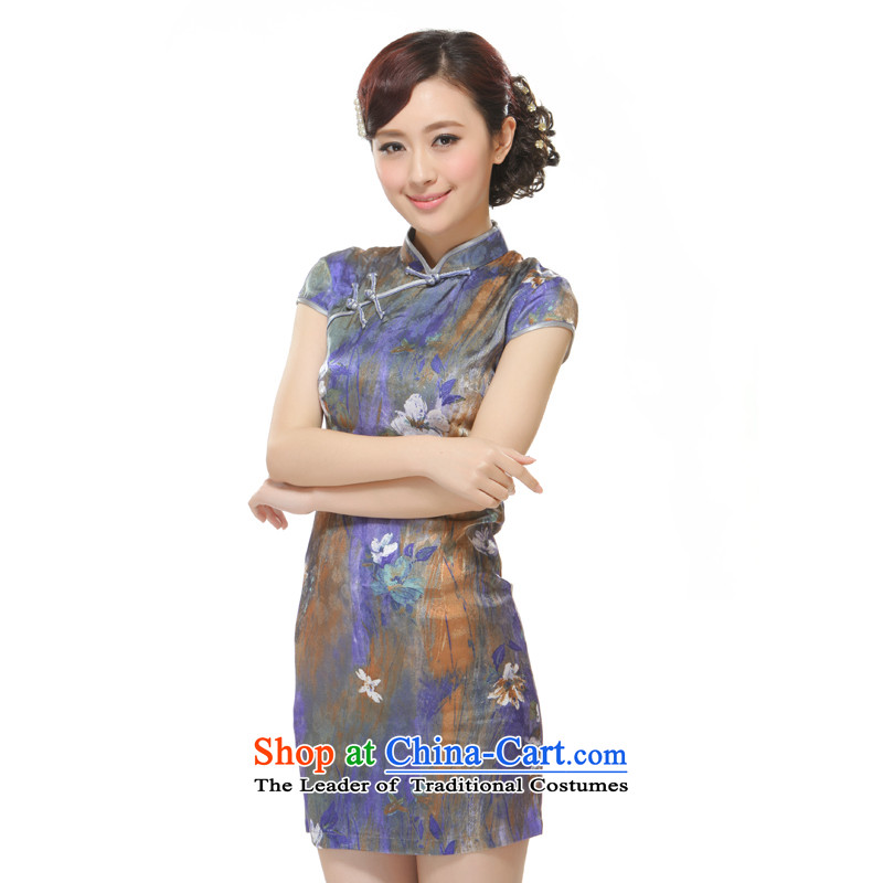 The former Yugoslavia Li?Ms. New 2015 it purple bleeding lotus stylish improved Sau San short qipao?QW2522?PURPLE?XL
