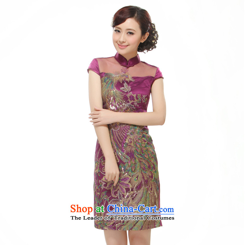 The former Yugoslavia Li known?2015 new women's stylish improvement of short skirts qipao Sau San Purple Phoenix decals?QR528?PURPLE?L