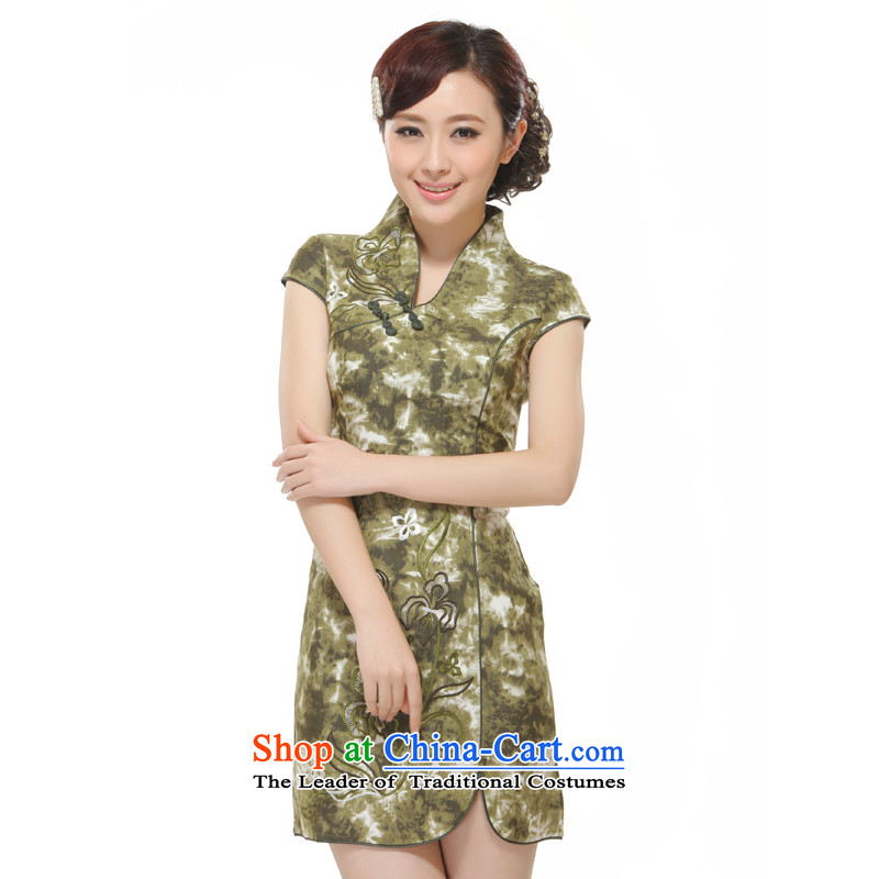 The former Yugoslavia Li known 2014 new women's retro improved low Sau San collar short-style qipao QW2531) Green XL
