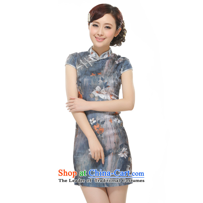 The former Yugoslavia Li aware of the�new 2015 Ms. bleeding lotus gray retro improved qipao�QW2524 Sau San�gray�M