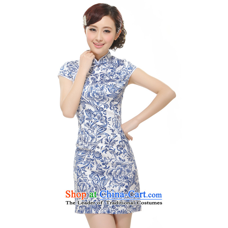 The former Yugoslavia Li known 2015 new women's porcelain elegant and stylish retro style improvement of the forklift truck qipao QW2521 no blue S