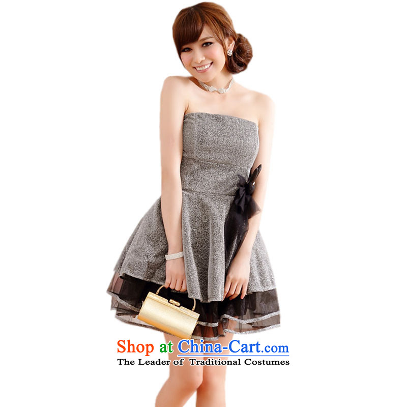 The Eiffel Tower with gold wire glued to the sweet evening dress skirt�2015 Korean short, wipe the scoops marriage banquet hosted bridesmaid night banquet dinner dress code 4450 Silver are