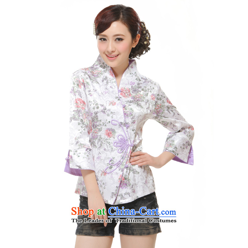 The former Yugoslavia Li known spring 2015 New Ms. Tang dynasty, sleeved shirt retro improved cool romantic Rose QW2309-4 White M