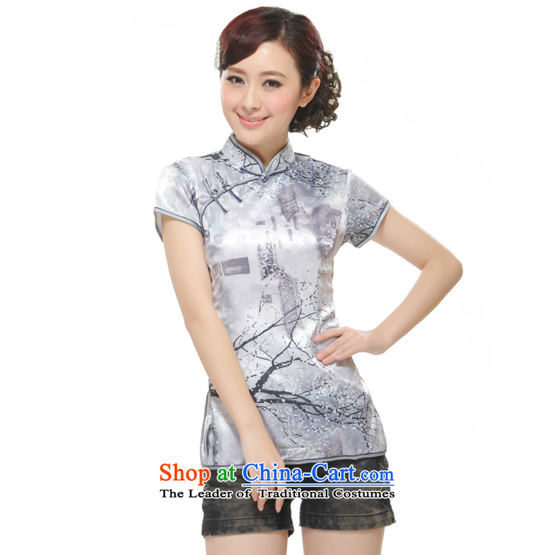 The former Yugoslavia Li known summer 2015 new tree on the bough Ms. Tang dynasty gray T-shirt QC3-112 Stylish retro improved figure XL