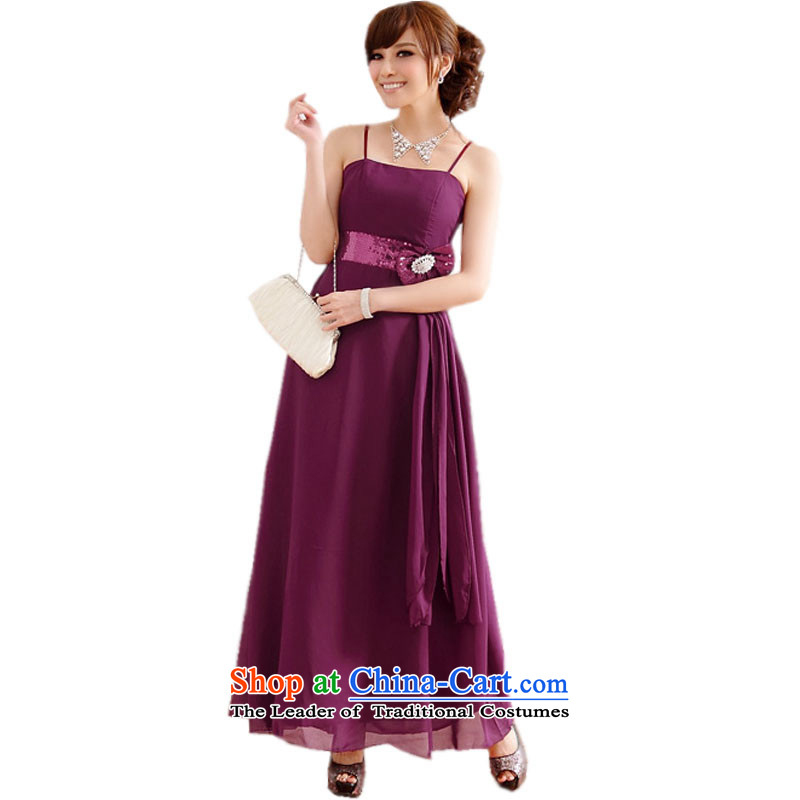 Large glued to the Eiffel long lifting strap around his waist high chiffon dress skirt?2015 annual meeting of the Korean version of the Banquet moderator show video on thin drill dresses 444 PURPLE?XXXL