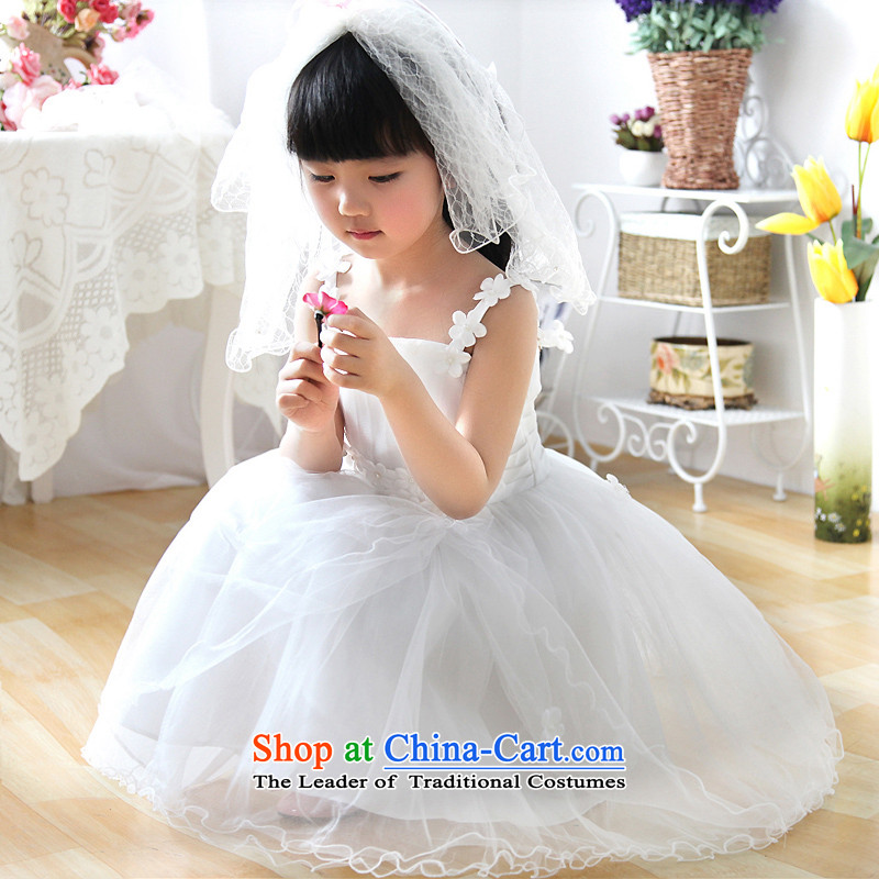 Shared Keun guijin flowers straps Flower Girls skirt princess skirt flower girl children's wear dresses t28 m White?6 yards from Suzhou Shipment