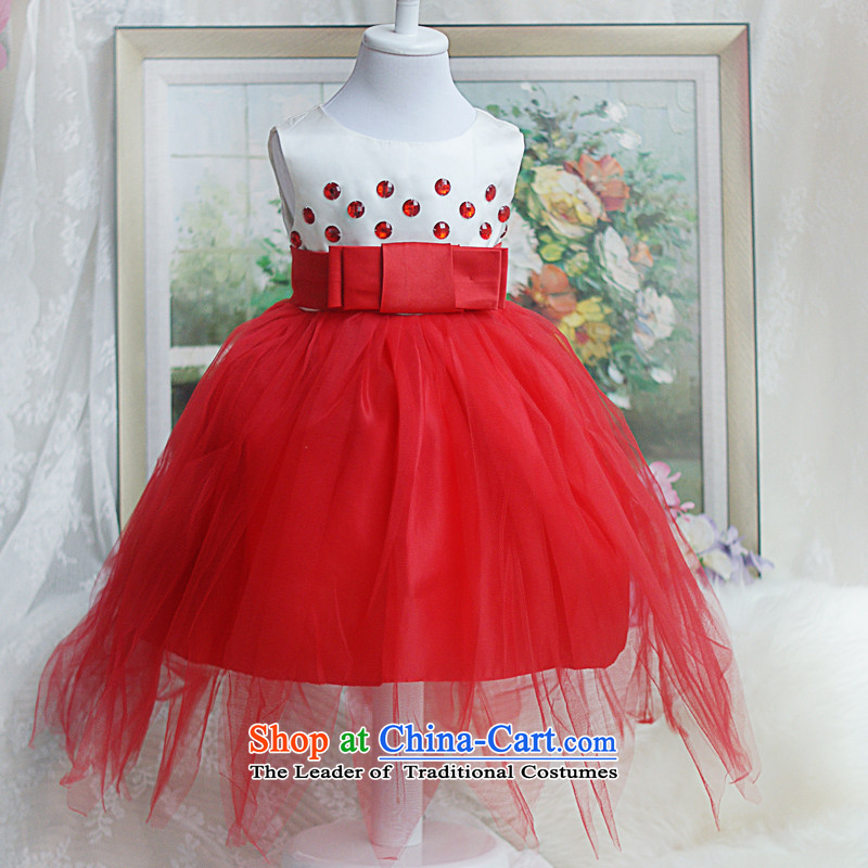 Shared Flash sweets guijin Keun-color lovely small dot princess dress flower children's wear girls show skirt�t27�largest dress Red�4 code from Suzhou Shipment