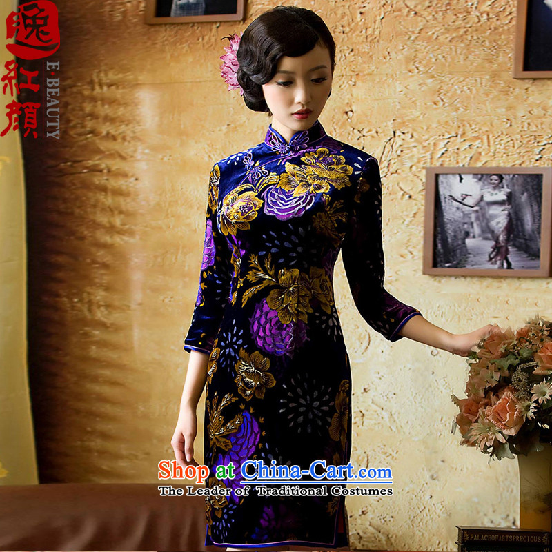 【 Yat lady- Aloe Silk Velvet cheongsam retro style Silk Cheongsam improvements in long-sleeved red XL