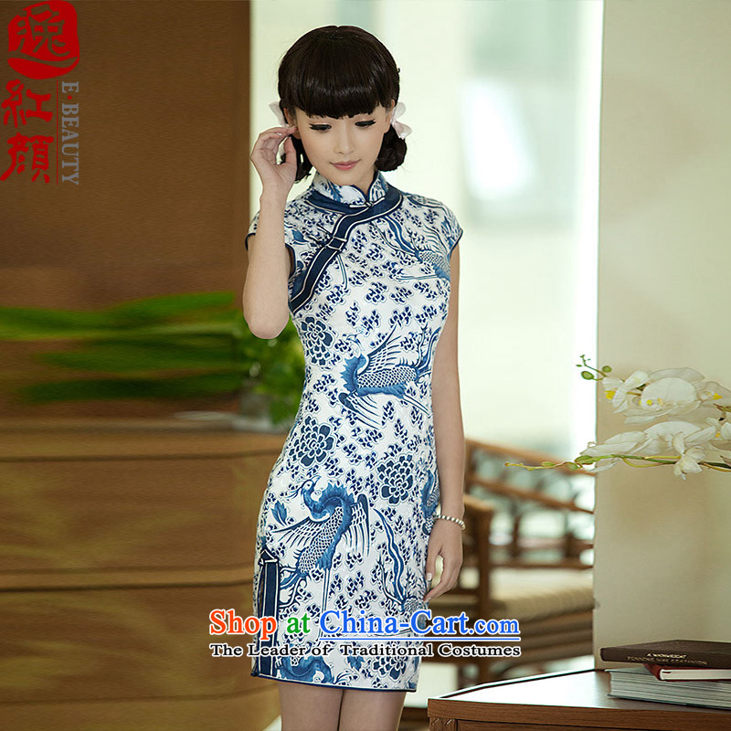 The elections as soon as possible gradually Tsing Yi lady porcelain qipao Stylish retro new improved cheongsam dress summer Suit?M