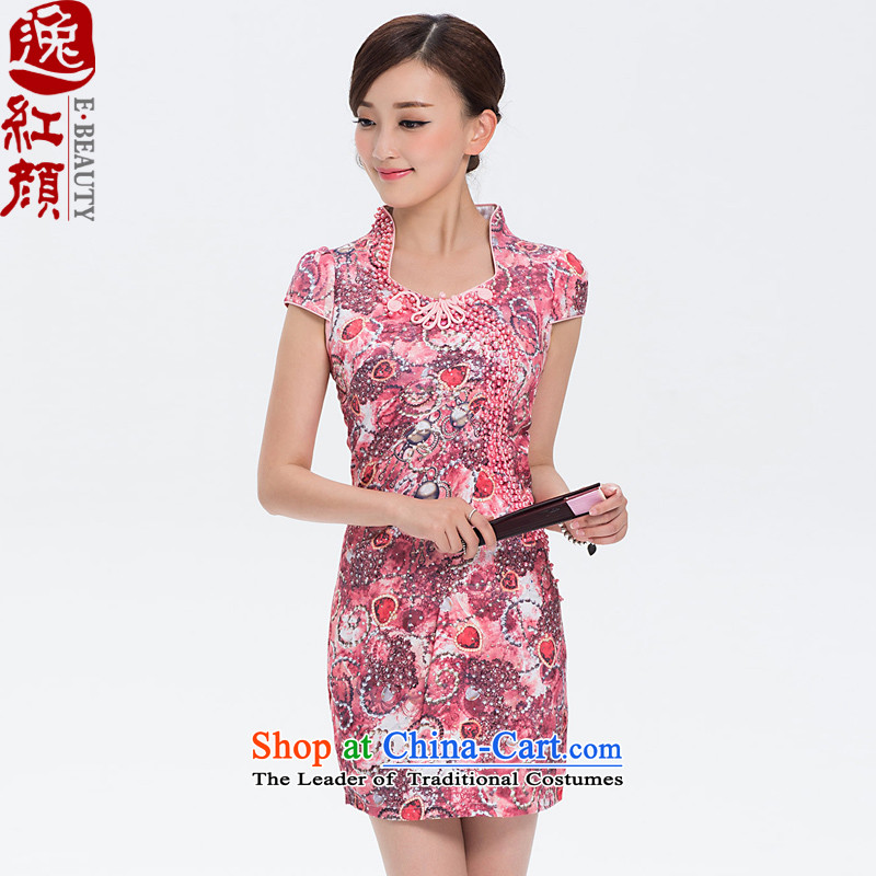 ? lady as soon as possible star Yat 2015 Summer female new Stylish retro short of Sau San daily cheongsam dress�2D033�red floral�2XL